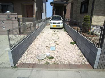 駐車場兼アプローチの施工前の写真