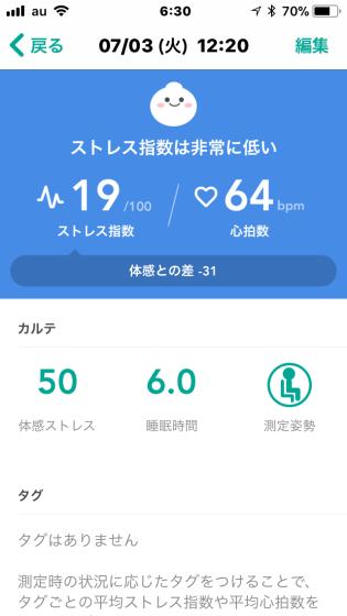 ストレス測定アプリ