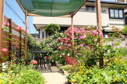 バラなどたくさんの花で彩られたお庭の写真